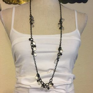 Faceted chandelier style bead chrome tone chain